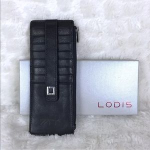 Lodis Black Leather Wallet RFID Protection New